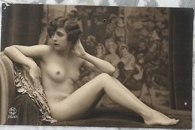 Rare original old French real photo postcard Art Deco nude study