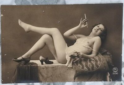 Rare original old French real photo postcard Art Deco nude study 3