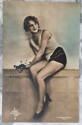 Rare original old French real photo postcard Art Deco nude study 5