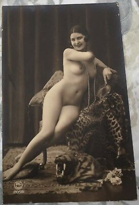 Rare original old French real photo postcard Art Deco nude study 8