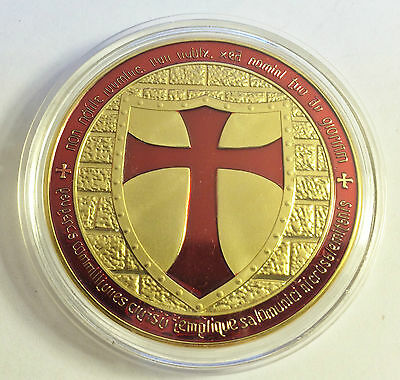 """2014 """"RED"""" TEMPLAR KNIGHT CROSS COIN Finished 999 24 k Gold"""