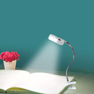 Portable Travel Flexible LED Clamp Clip On Reading Book Light Battery Desk Lamp