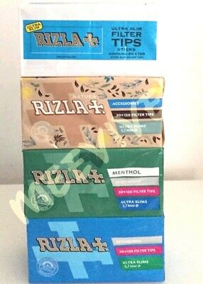 Rizla Smoking Filter Tips Ultra Slim Menthol Natura Blue Pack White Lack Genuine