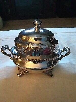 Exquisite!  Aurora Silverplate Small Serving Dish With Lid Excellent Condition!!