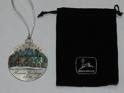Vintage 1996 JOHN DEERE Pewter Christmas Ornament Model D Tractor RARE w/Pouch