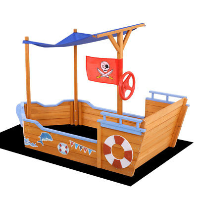 Wooden Boat Sandpit W/ Canopy Kids Children Outdoor Play Box Sand Pit Fun Toys