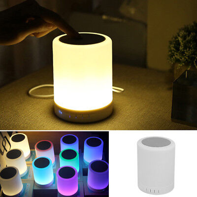 Night Light Bluetooth Speaker Portable Wireless Touch Control Color LED Speaker