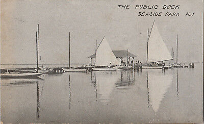 S21.1122 Vintage Postcard RPPC Seaside Park, NJ Public Dock c.1910-1920