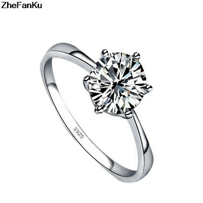 2018 New 5 ct White Sapphire Claw Ring 10KT White Gold Filled Wedding Rings Band