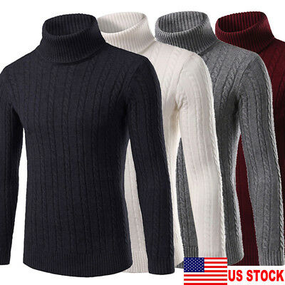 US Mens Warm Cashmere Sweaters Turtleneck T-Shirt Jumper Tops Pullover Knitwear
