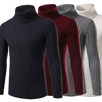 AU Mens Winter Thick Warm Sweaters Turtleneck T-Shirt Pullover Knitwear