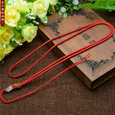 1Pcs Natural JADE beads Red Circle string cord rope for pendant Necklace A215