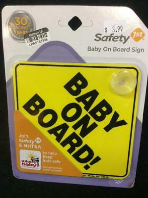BABY ON BOARD! Safety 1st Yellow Sign with Window Suction Cup NEW!