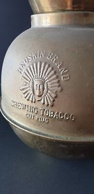 Old Brass Redskin Brand Chewing Tobacco Cut Plug Spittoon …beautiful display / c