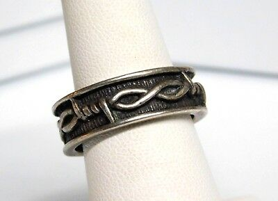 Men's Thick Vintage Sterling Silver Barbed Wire Band Ring Sz 9