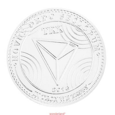 TRX Silver Zinc Alloy Coin Round Plated Art Collection Bitcoin Commemorative