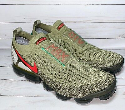Nike Air Vapormax FK Flyknit Moc 2 Olive Green Habanero Red Size 14 AH7006-200