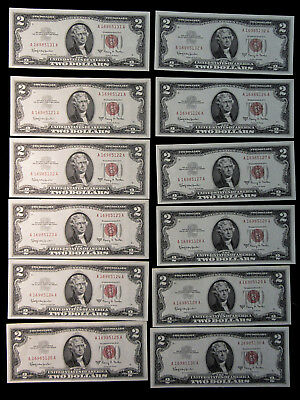 12 Consecutive Notes - 1963A $2 United States Notes - Red Seals. Unc. (1118248)