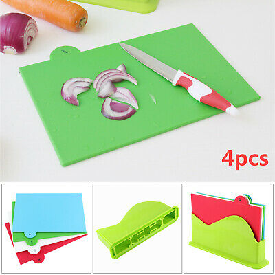 Colour Coded Chopping Board Set of 4 Cutting Kitchen Non Slip Food Preparation