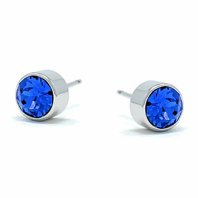 Small Stud Earrings with Blue Sapphire Round Crystals from Swarovski Rhodium