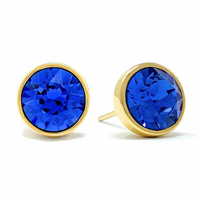 Stud Earrings with Blue Sapphire Round Crystals from Swarovski Gold Plated