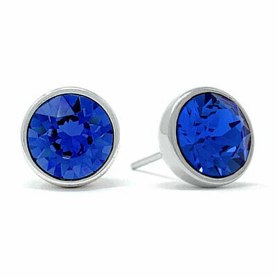 Stud Earrings with Blue Sapphire Round Crystals from Swarovski Rhodium Plated