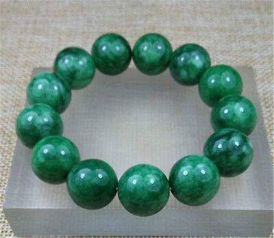 16MM 100% Natural GREEN JADE beads bracelet