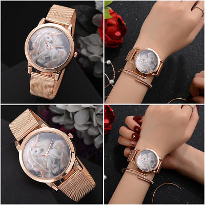 LVPAI Unicorn Pattern Fashion Leisure Women Watch Rose Gold Mesh Band Wristwatch