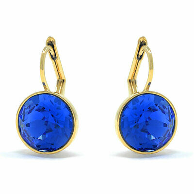 Drop Earrings with Blue Sapphire Round Crystals from Swarovski Gold Plated