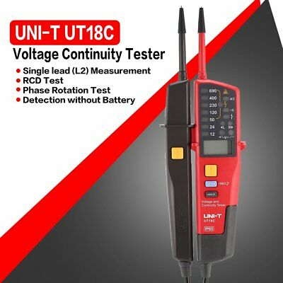 UNI-T UT18C Auto Range Voltage and Continuity Tester with LCD/LED Indicatio TM
