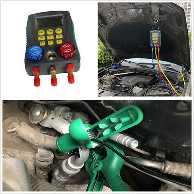 Digital Display A/C Refrigerant Pressure Gauge Group Fluorine Plus Liquid Meter