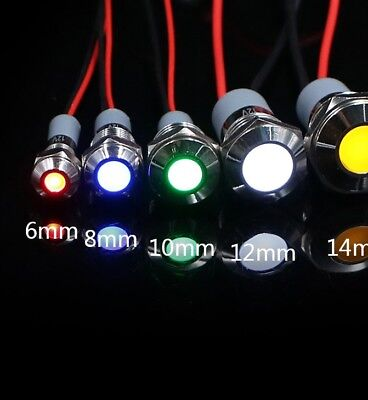 6mm/8mm/10mm/12mm/14mm Waterproof IP67 Metal LED Warning Indicator Light Signal