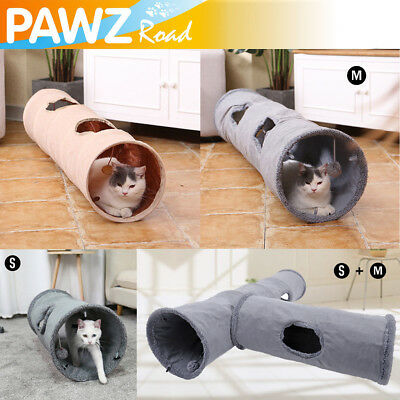 "Dia 11.8"" Pet Dog Cat Tunnel 2 Holes With Ball Kitten Funny Toy Foldable Tube"