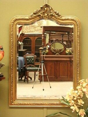 Large Gilt Look Antique Style Over Mantle Or Wall Mirror ~ Beautiful Detail