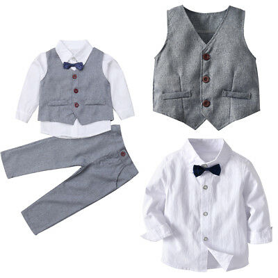 AU Toddler Baby Boy Formal Suit Top+Long Pant Gentleman Set Clothes Outfits 2Pcs