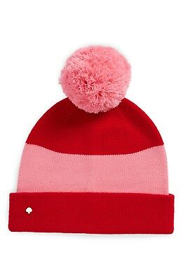 2f4b7b3f3 NWT KATE SPADE New York Colorblock Knit Beanie Pink/Red Pom-Pom