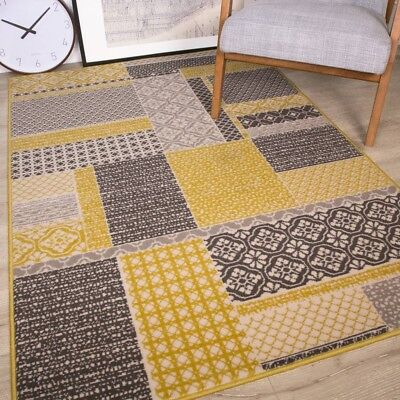 Milan Ochre Mustard Yellow Grey Beige Patchwork Squares Traditional Living Room