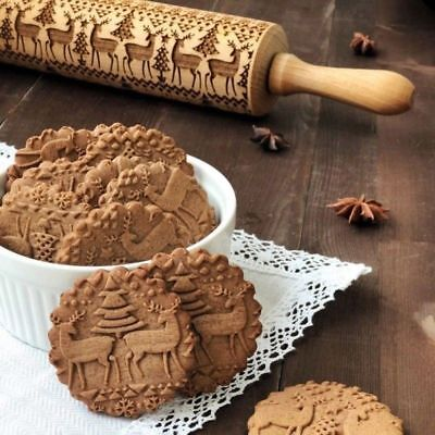 Wooden Rolling Pin Embossing Baking Cookies Noodle Cake Dough Patterned Roller