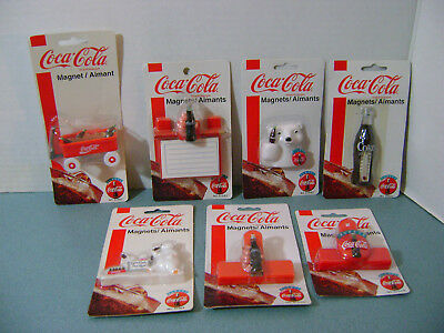 Set of 7 Coca Cola Magnets 1995-99 Thermometer Clips Bears Notepad Wagon