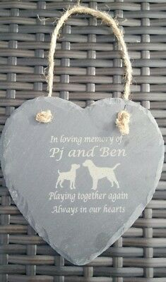 Personalised Engraved Slate Stone Heart Pet Memorial Grave Marker Plaque 2 dogs