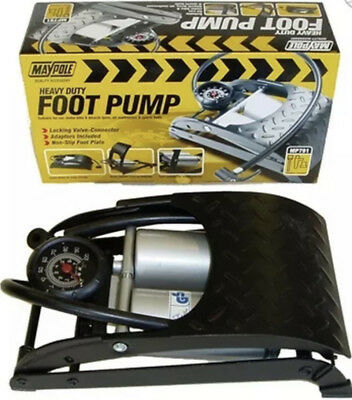 Maypole Heavy Duty Double Barrel Gauge Foot Pump For Variety Of Tyres Mp791