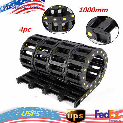 4x Cable Pipe Drag Chain 1M Wire Carrier 25x75mm f/ CNC machine tools Nylon PA66