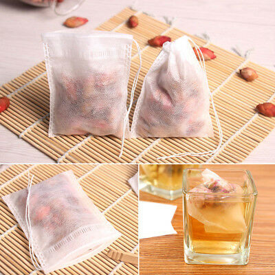 100 Pc Paper Empty Draw String Teabags Heat Seal Filter Herb Loose Tea Bag Pouch