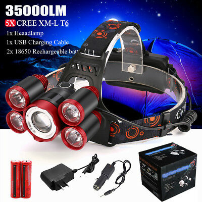 35000LM 5x XM-L T6 LED Rechargeable 18650 Headlamp Flashlights Zoomable Torch