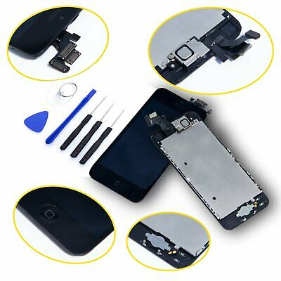 DISPLAY LCD iPhone 5 ASSEMBLATO COMPLETO Fotocamera Tasto Home Altoparlante NERO