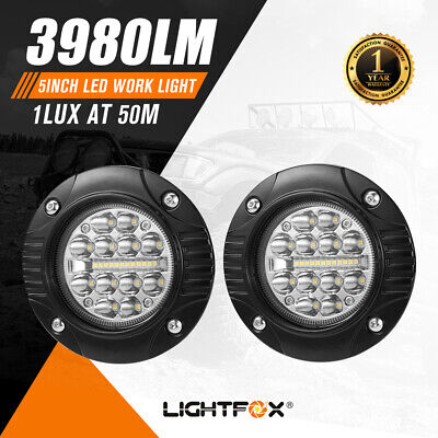 Pair 4inch CREE LED Work Light Bar Flush Mount Combo Round Offroad Boat Truck
