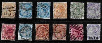 Mauritius 1879 to 1894 QV Definitives - Used