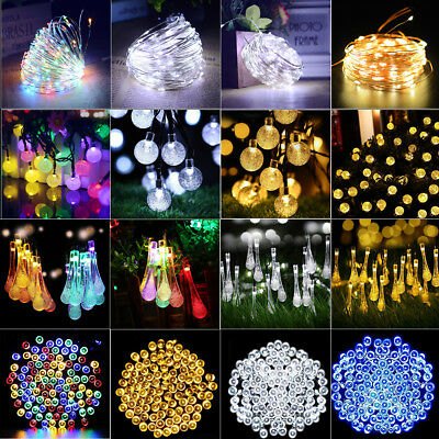 Solar Garden Fairy String 100 200 LED Light Rain Drop Crystal Bulb Outdoor Party