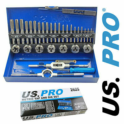 US PRO Tools 32pc Metric Tap And Die Set M3 Tape Plug Bottoming - M12 NEW 2625