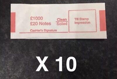 10 x £20 Note Money Bands Uk Currency Straps Holds 50 Notes